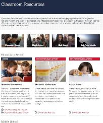Operation Prevention classroom resources website screen shot