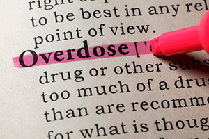 overdose graphic text highlighted in dictionary