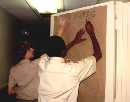 Boy scouts decorate door