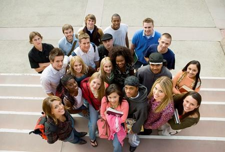 group of teens standing together